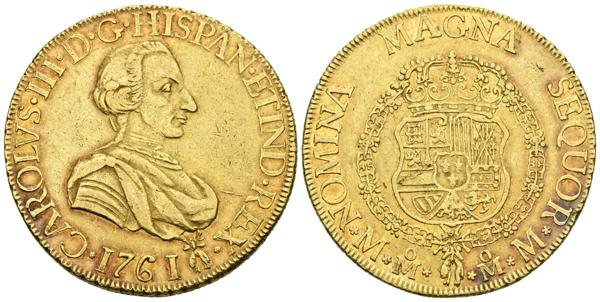 627 - CARLOS III. 8 Escudos. 1761. México MM. Primer busto. Toisón junto a la fecha. Cal-71; Cal.Onza 742. Au. 27,00g. Restos del brillo original en reverso y suave tono. MBC+. Muy rara. - 5,000€