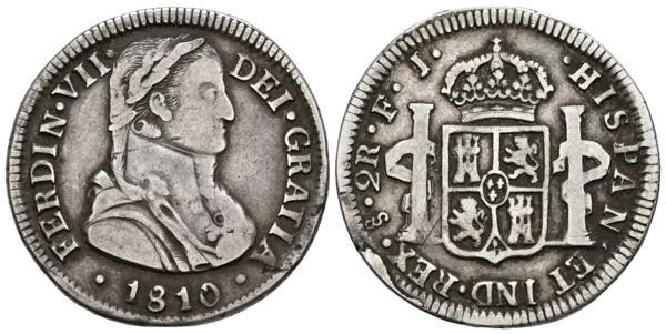 661 - FERNANDO VII. 2 Reales. Santiago FJ. Busto almirante. Casaca sin botones. Cal-1016. Ar. 6,50g. MBC-. Rara. - 90€