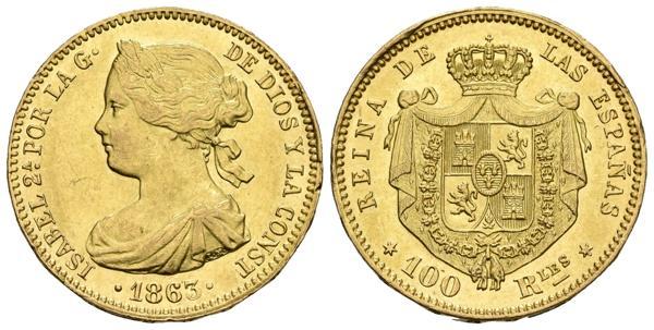 706 - ISABEL II. 100 Reales. 1863. Madrid. Cal-28. Au. 8,37g. Conserva parte del brillo original. Golpecitos en el canto. EBC-. - 220€