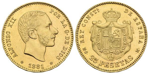 733 - ALFONSO XII. 25 Pesetas. 1881 *18-81. Madrid MSM. Cal-14. Au. 8,06g. Parte del anverso incuso en el reverso. EBC. - 200€
