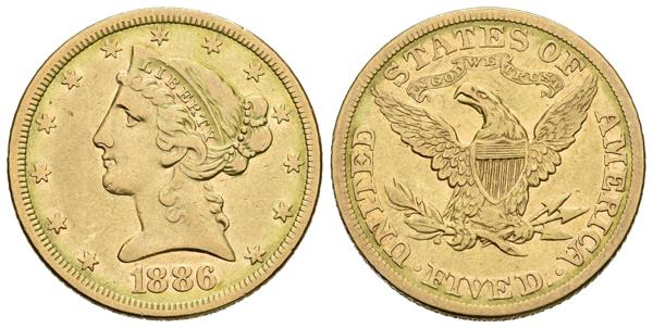 869 - ESTADOS UNIDOS. 5 Dollars. 1886. Philadelphia. Fr.143. Au. 8,27g. MBC/MBC-. - 210€