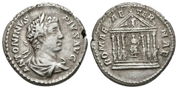 192 - CARACALLA. Denario. 206 d.C. Roma. A/ Busto laureado y drapeado con coraza a derecha. ANTONINVS PIVS AVG. R/ Templo de estilo hexástilo con una estatua en la base de cada columna, en el centro Roma y en el frontón Júpiter en pie entre dos figuras reclinadas. ROMAE AETERNAE. RIC 143 A (Aureus); Calicó II, 2810 (Aureus). Ar. 3,82g. MBC+. Muy rara. - 600€