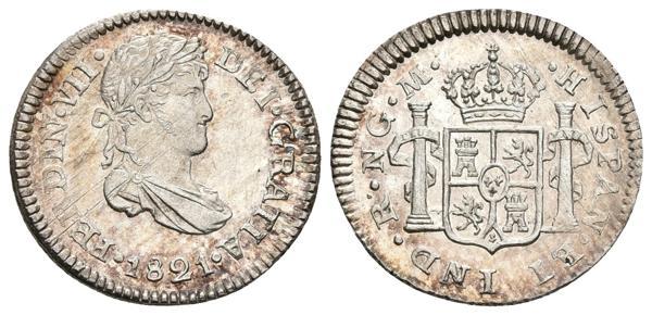 587 - FERNANDO VII. 1/2 Real. 1821. Guatemala M. Cal-1294. Ar. 1,60g. Pleno brillo original. Magnífico ejemplar. SC. Rara así. - 120€