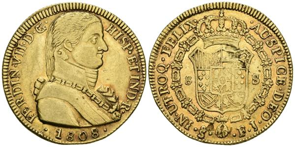 606 - FERNANDO VII. 8 Escudos. 1808. Santiago FJ. Busto almirante. Cal-112; Cal. Onza 1341. Au. 26,93g. Ligero tono y hojita en reverso. MBC+. Rara. - 1,000€