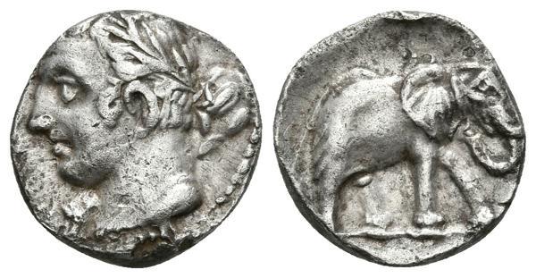 64 - CARTAGONOVA. 1/4 Shekel. 220-205 a.C. Cartagena (Murcia). A/ Cabeza de Melkart-Heracles, laureada a izquierda con clava. R/ Elefante a derecha. FAB-487. Ar. 1,71g. MBC+. - 200€