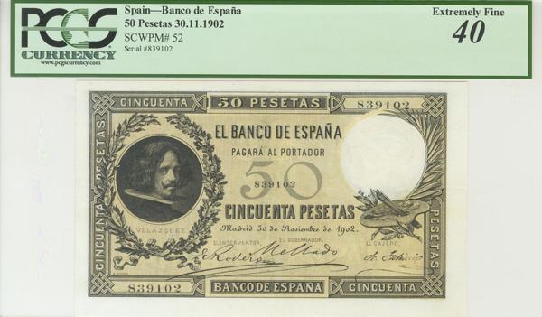 953 - 50 Pesetas. 30 de Noviembre de 1902. (Edifil 2017: 309, Pick: 52). Mínimamente reparado. Encapsulado PCGS40. EBC. - 1,500€
